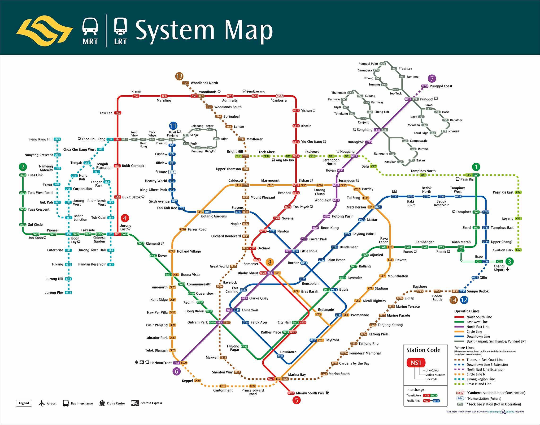 Map MRT dan LRT di Singapura terbaru