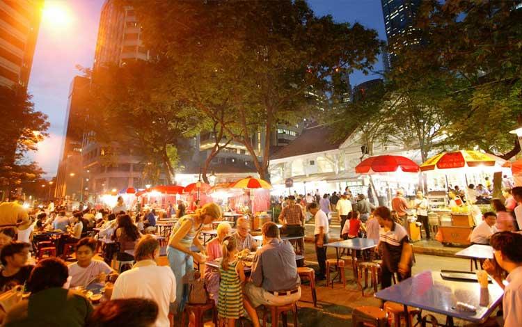 Tempat makan murah di Singapura - Lau Pa Sat Festival Market, Raffles Quay